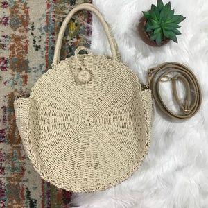 Large Straw Woven Circle Bag